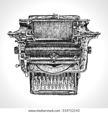Vintage typewriter  drawing ink isolated on white background. Traditional Style Inked Hand Drawing Engraving Style - stock vector