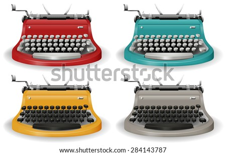 Vintage typewriter in four different colors - stock vector