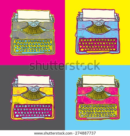 Vintage Typewriter vector pop art illustration - stock vector