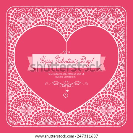 Vintage Valentine Lacy Card with Heart. Vector Illustration. - stock vector