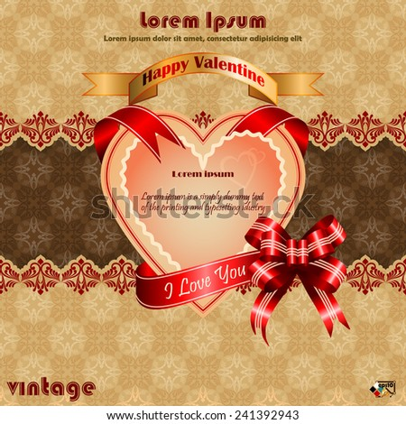 "Vintage Valentine's Day background with ""Happy Valentine's Day"",""I love you text"" on ribbon, arabesques patterns as background.   - stock vector"