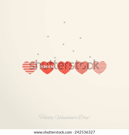 Vintage Valentine`s day card with hearts - stock vector