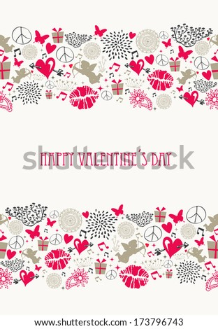Vintage Valentine`s day elements, flat icons love seamless pattern background. EPS10 vector file organized in layers for easy editing. - stock vector