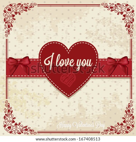 Vintage Valentines Day Design. Vector Illustration. - stock vector