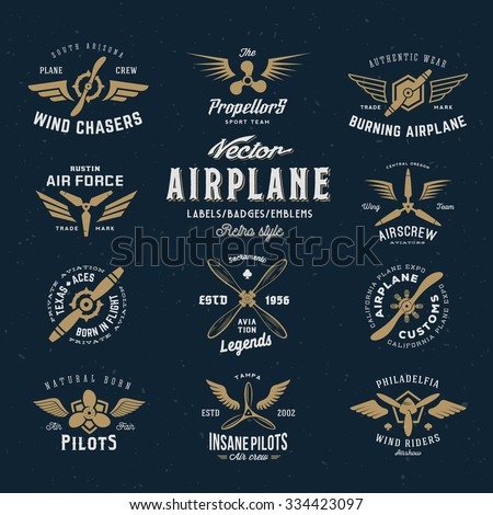 Vintage Vector Airplane Labels Set with Retro Typography. Shabby Texture on Blue Background. - stock vector