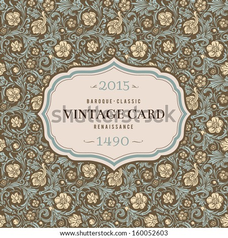 Vintage vector background in classical baroque style. Stylized beige flowers with emerald green swirls and leaves on a brown background. Renaissance. - stock vector