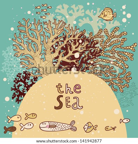 Vintage vector background with corals and fishes. Underwater live card. Summer vacation. - stock vector