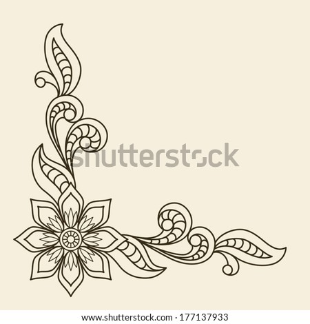 Vintage vector background with floral corner ornament - stock vector