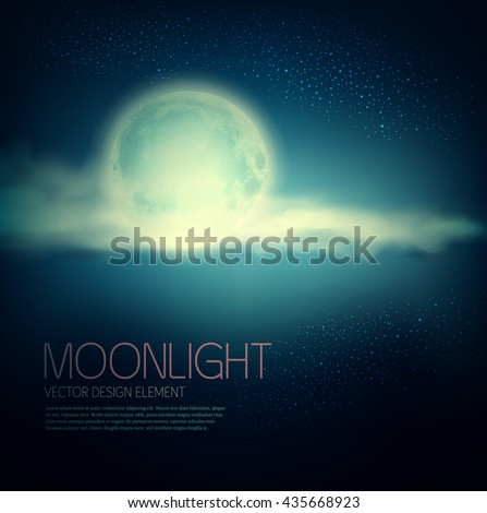 Vintage vector background with full moon and clouds on a dark blue background - stock vector
