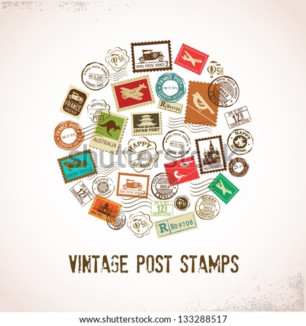 Vintage vector background with rubber stamps - stock vector