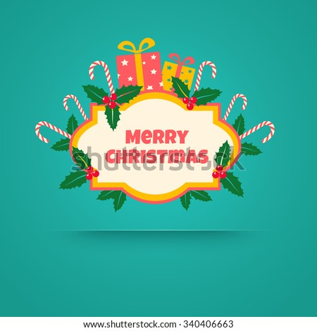 Vintage vector banner with christmas gifts - stock vector