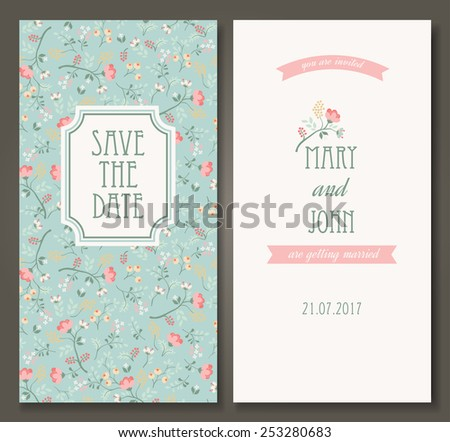 Vintage vector card templates. Can be used for Save The Date, baby shower, mothers day, valentines day, birthday cards, invitations. Seamless pattern is masked - stock vector