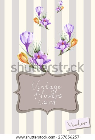 Vintage vector card with floral elements - stock vector