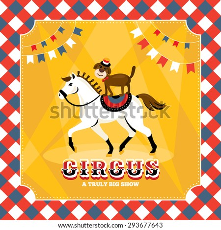 Vintage vector card with horse and dog - stock vector