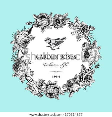 Vintage vector card with round black and white frame of garden roses on mint background. Victorian style. - stock vector