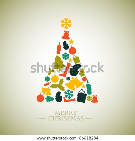 Vintage Vector christmas tree made from various shapes - stock vector
