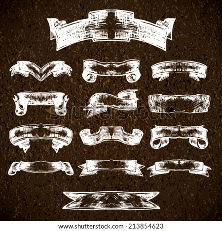 Vintage vector collection of sketch banners and ribbons - stock vector