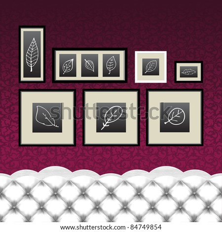 Vintage vector couch with upholstery pattern with frames and autumn leaves drawings. - stock vector