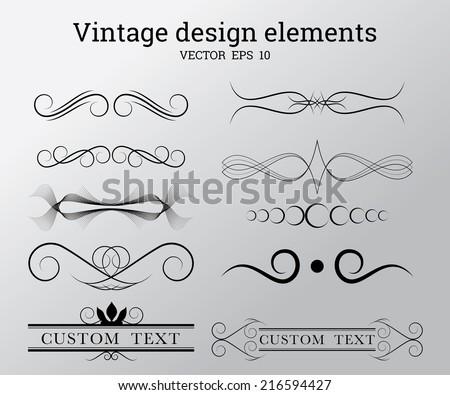 Vintage vector design elements - stock vector