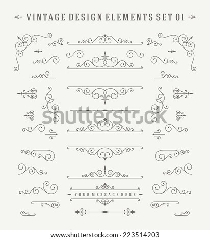 Vintage Vector Design Elements. Flourishes calligraphic combinations retro design for Invitations, Posters, Badges, Logotypes and other design. - stock vector