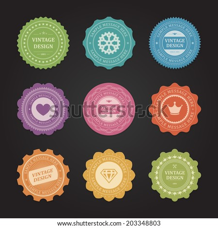 Vintage vector design elements. Retro style typographic labels,  tags, badges, stamps, arrows and emblems set.  - stock vector