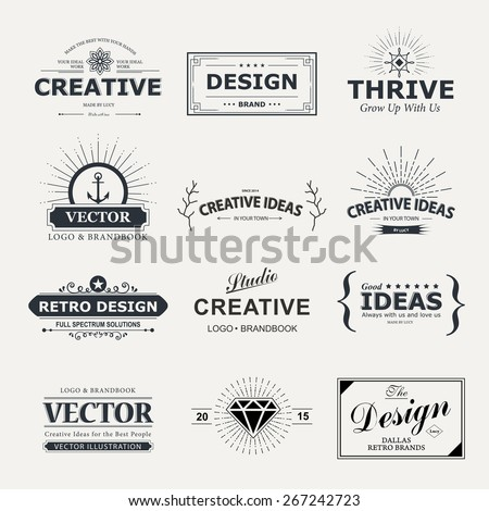 Vintage vector design elements. Retro style typography labels, tags, badges, stamps, arrows and emblems set. - stock vector