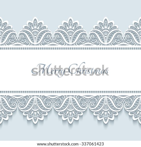 Vintage vector frame with seamless lace border ornament, merry Christmas background, elegant greeting card or invitation template, eps10 - stock vector