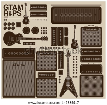 vintage vector guitar set and amplifier - stock vector