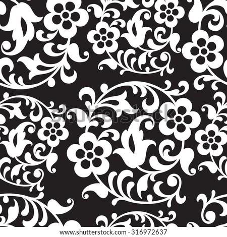 Vintage Vector hand-drawn seamless pattern with ethnic east floral ornament. Flowers. Abstract Background. - stock vector