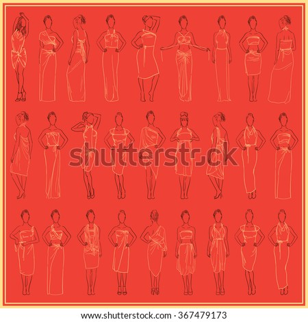 Vintage vector illustration. Different  evening dresses set and casual dresses skirt sundresses model in various poses in fashionable clothes. Women clothes collection hand drawn sketch - stock vector