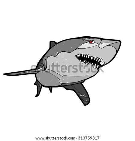 Vintage vector illustration, hand graphic - Shark - stock vector