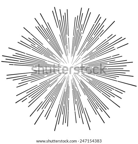Vintage vector  illustration in hipster style. Monochrome star burst with ray. - stock vector