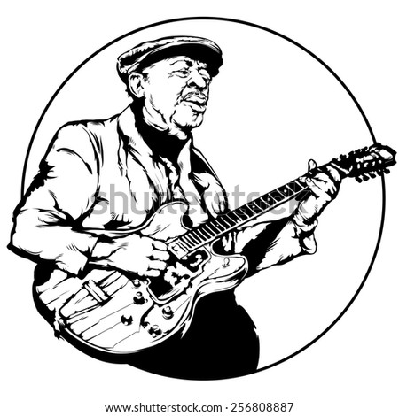 Vintage vector illustration - Old bluesman is playing on guitar - stock vector