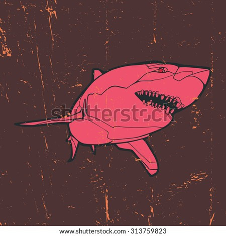 Vintage vector illustration - Pink shark - stock vector