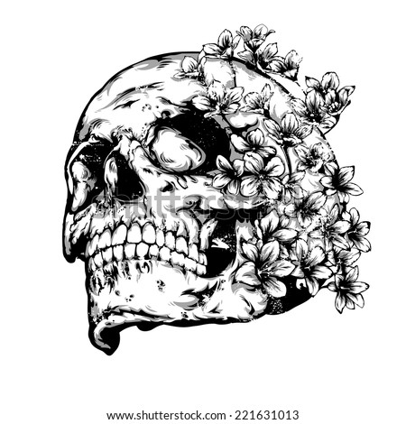 Vintage vector illustration - Skull with flowers - stock vector