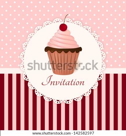 Vintage vector invitation card with cherry cream cake. - stock vector