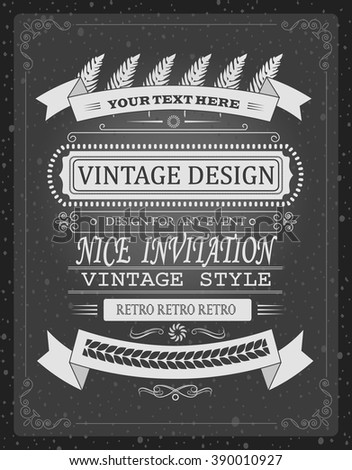 vintage vector invitation or info template, board design elements for  print or any case - stock vector