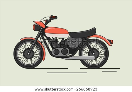 Vintage Vector Motorcycle Flat Illustration - stock vector