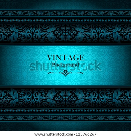 Vintage vector ornamental background, neon color, antique, victorian, floral frame, design idea, beautiful, creative invitation, classical old style card in futuristic style, glossy page cover - stock vector