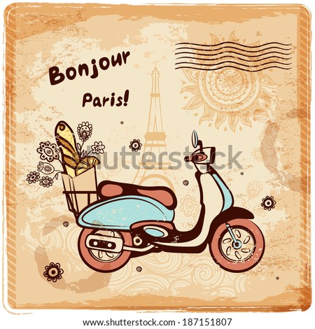 Vintage vector Paris postcard illustration for your business - stock vector