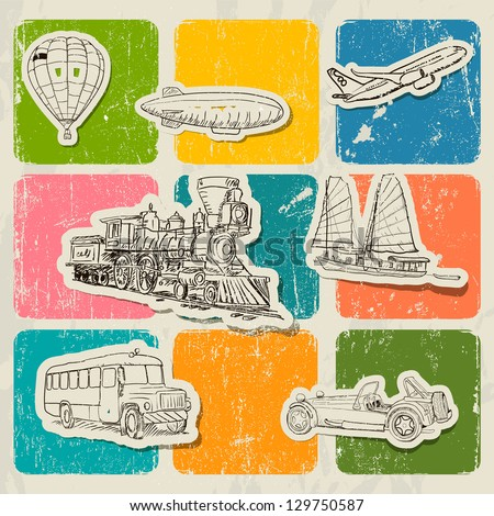 Vintage vector poster with different  vehicles. Vector illustration EPS10 - stock vector