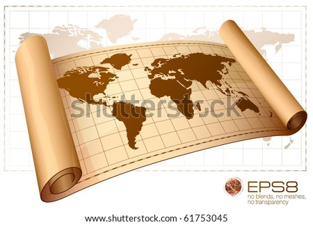 Vintage vector scrolled world map. - stock vector