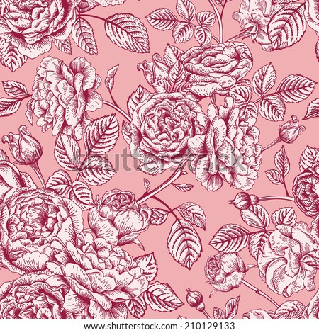 Vintage vector seamless pattern with garden roses on a pink background. - stock vector
