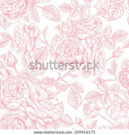 Vintage vector seamless pattern with garden roses. Romantic background. - stock vector