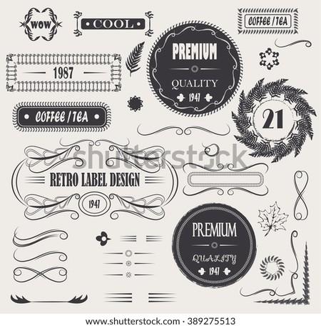 vintage vector set calligraphic design elements, page decor premium quality, leaf design and frames - stock vector