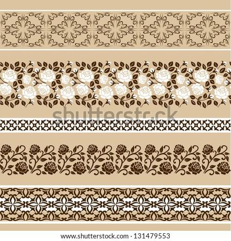 vintage vector set: floral borders - stock vector