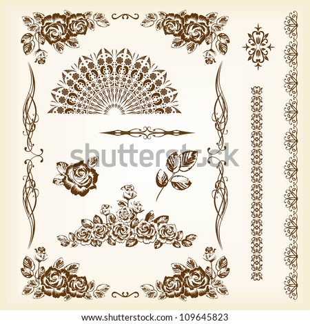 vintage vector set: frames and roses - stock vector