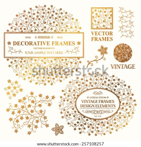 Vintage vector set: wedding invitation flower frames, logotypes and ornamental elements on a white background - stock vector