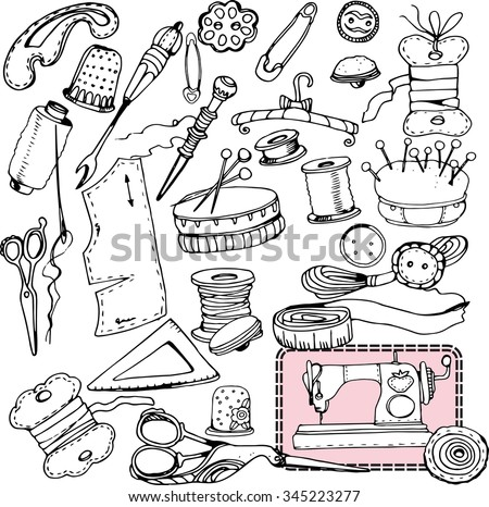 Vintage vector tailor's tools - scissors, measuring tape, mannequin, etc. Sewing elements. - stock vector
