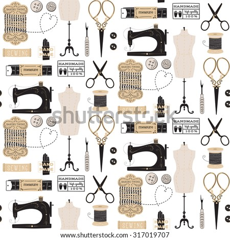 Vintage vector tailor's tools seamless pattern - stock vector